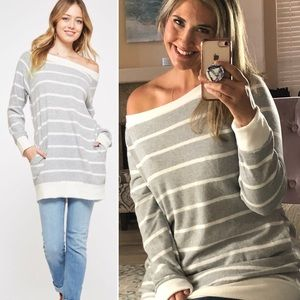 New! S-XL Heather Grey Striped Comfy Top